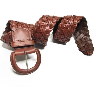 Banana Republic Brown Woven Leather Wide Belt